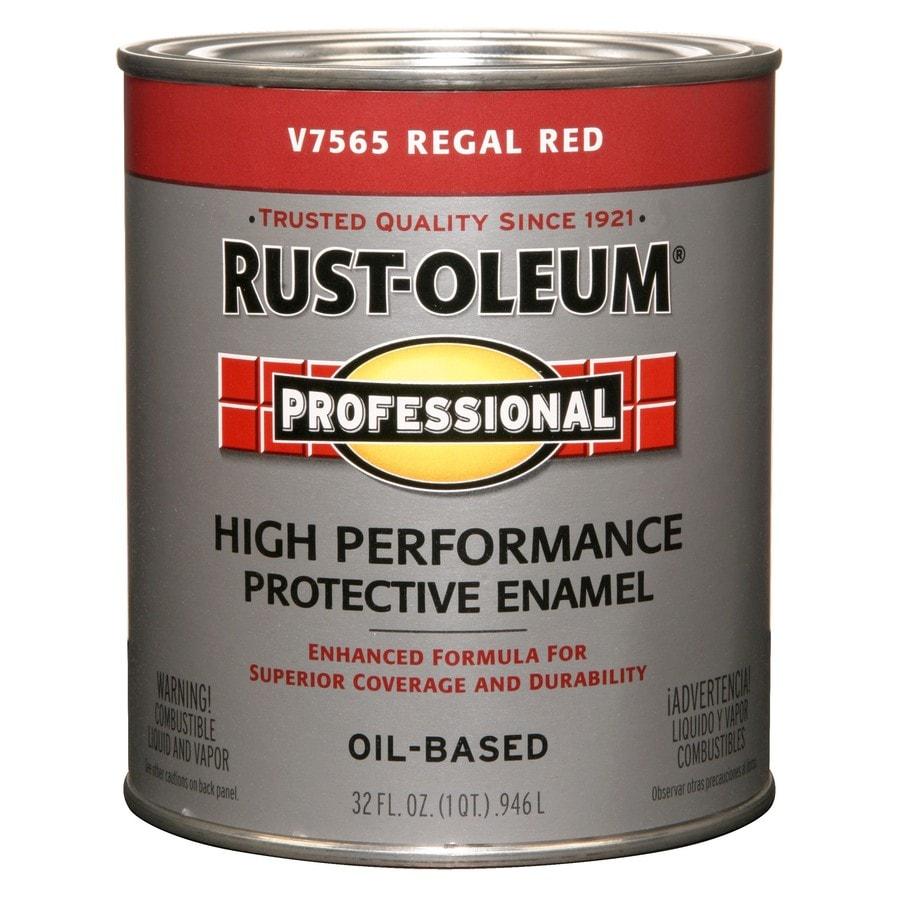 Shop Rust Oleum Professional Regal Red Gloss Enamel Interior Exterior Paint Actual Net Contents