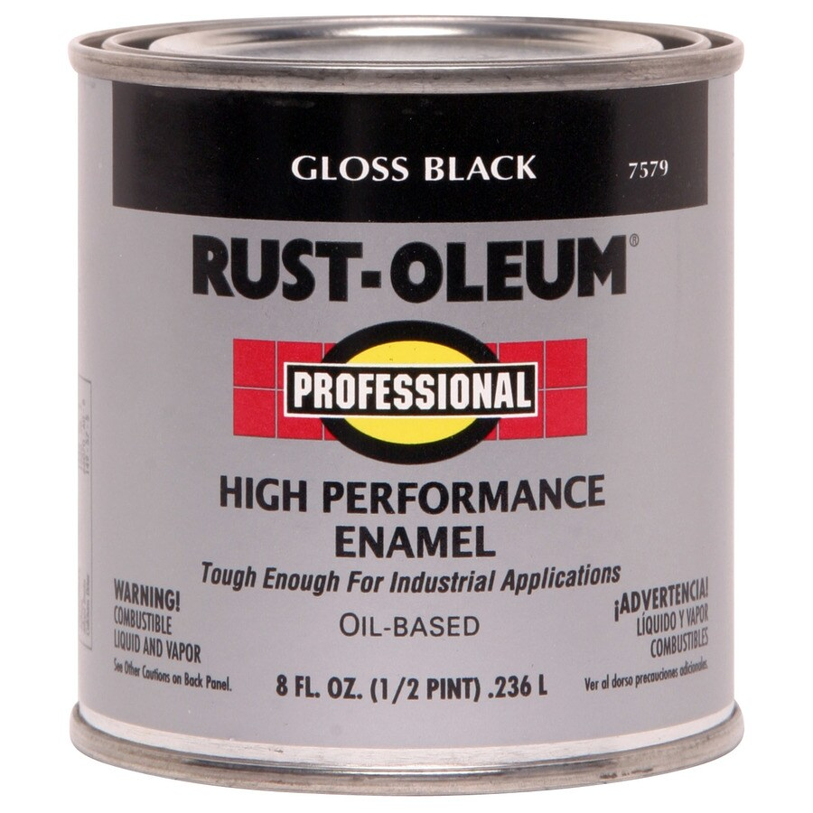 Rust-Oleum Professional Black/Gloss Gloss Oil-based Enamel Interior/Exterior Paint (Actual Net Contents: 8-fl oz)