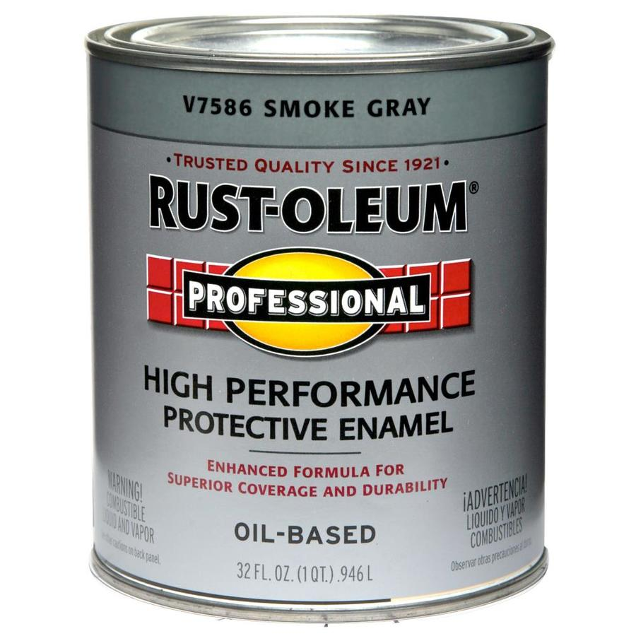 Shop Rust Oleum Professional Smoke Gray Gloss Gloss Oil Based Enamel Interior Exterior Paint