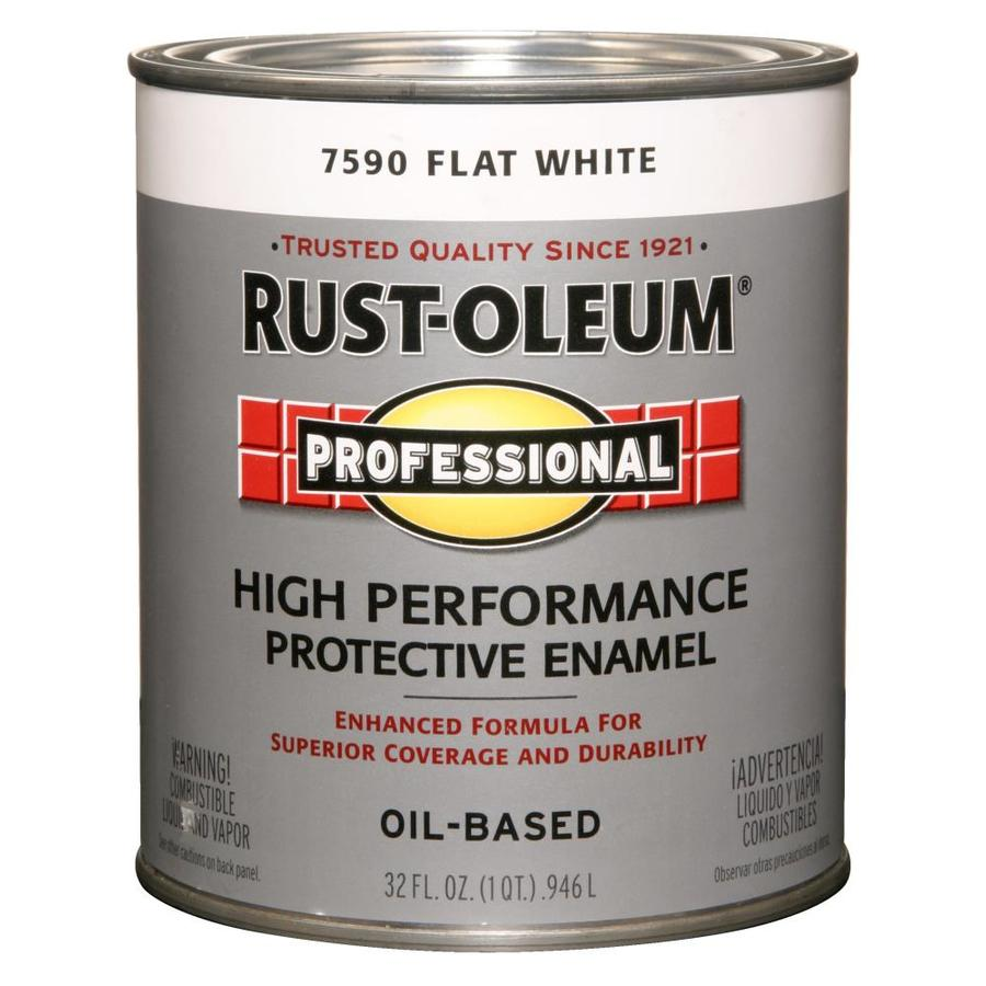 Shop Rust Oleum Professional White Flat Oil Based Enamel Interior Exterior Paint Actual Net