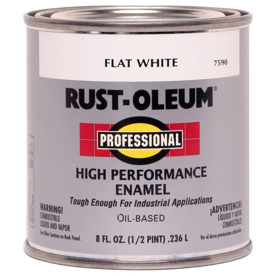 Rust-Oleum Professional White/Flat Enamel Interior/Exterior Paint (Actual Net Contents: 8-fl oz)