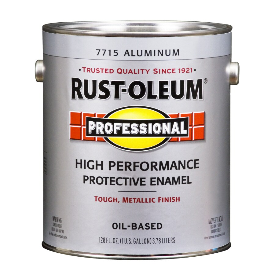 Rust-Oleum 128-fl oz Exterior Soft-Gloss Aluminum High Gloss Oil-Base Paint