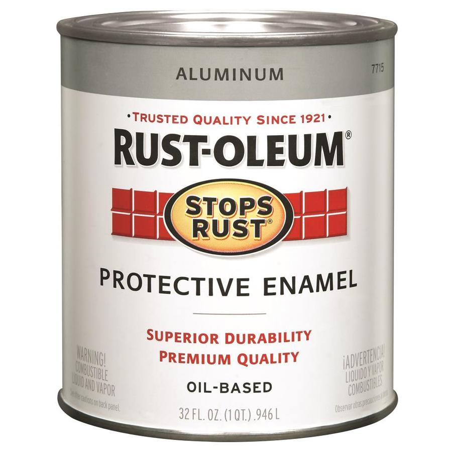Shop Rust Oleum Stops Rust Aluminum Gloss Metallic Oil Based Enamel Interior Exterior Paint