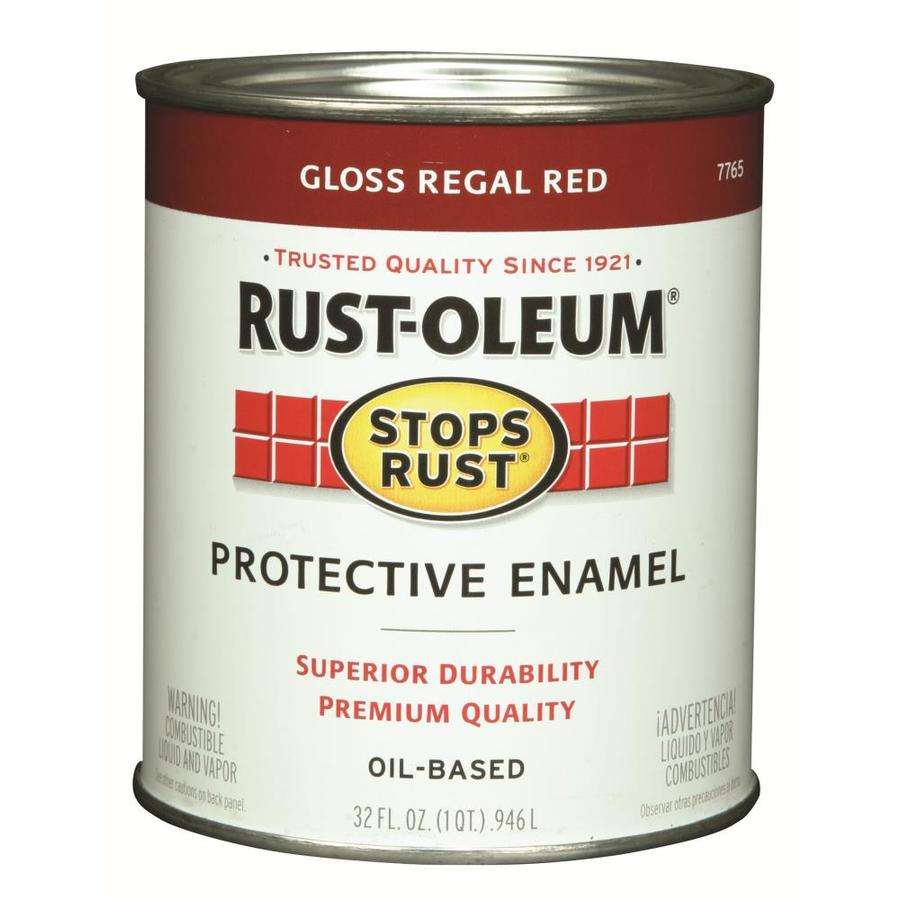 Shop Rust Oleum Stops Rust Regal Red Gloss Oil Based Enamel Interior Exterior Paint Actual Net