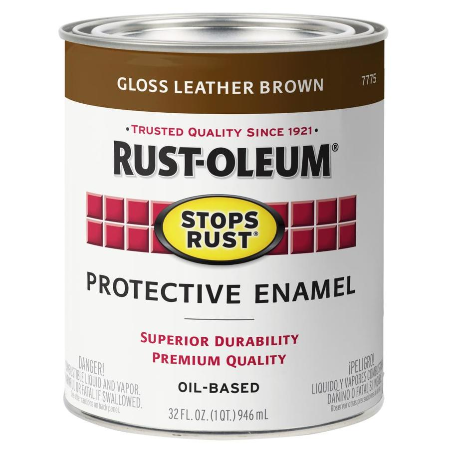 Shop Rust Oleum Stops Rust Leather Brown Gloss Oil Based Enamel Interior Exterior Paint Actual