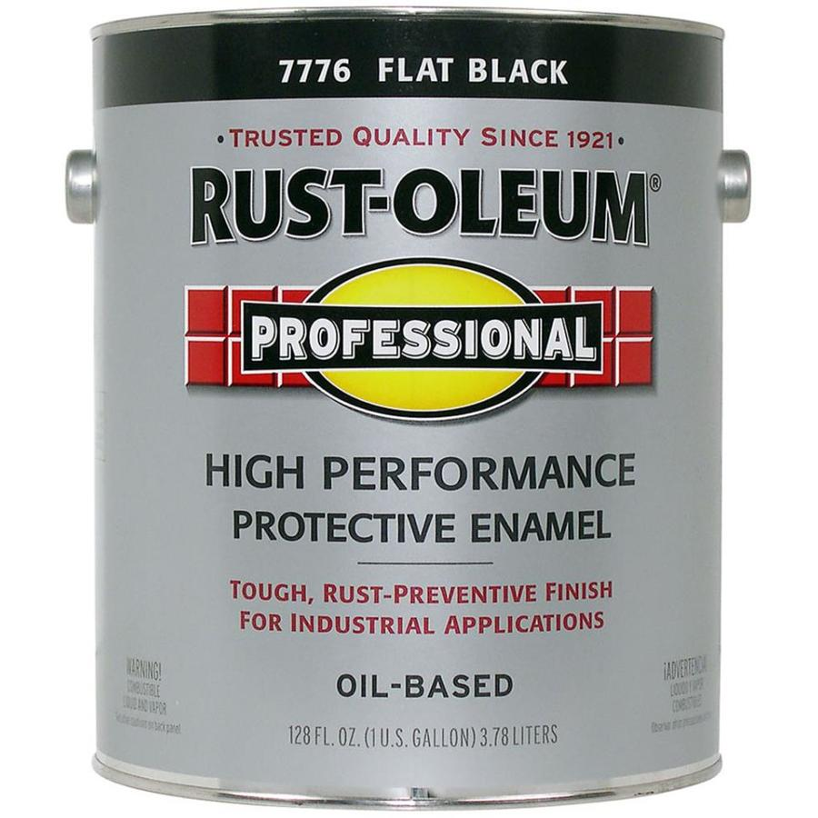 Shop rust oleum professional black flat oil based enamel interior exterior paint actual net for Rustoleum exterior metal paint