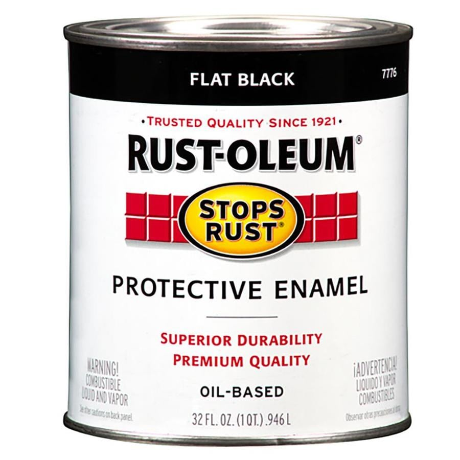 Rust-Oleum Stops Rust Black Flat Oil-Based Enamel Interior/Exterior Paint (Actual Net Contents: 32-fl oz)