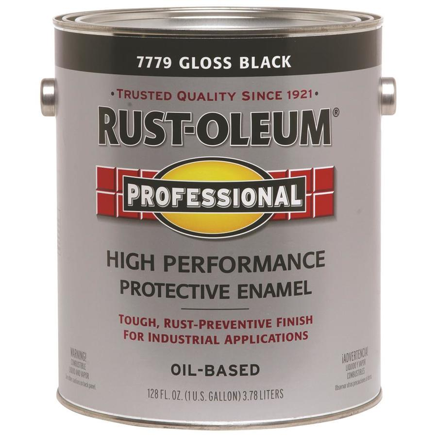 Shop Rust Oleum Professional Black Gloss Gloss Oil Based Enamel Interior Exterior Paint Actual