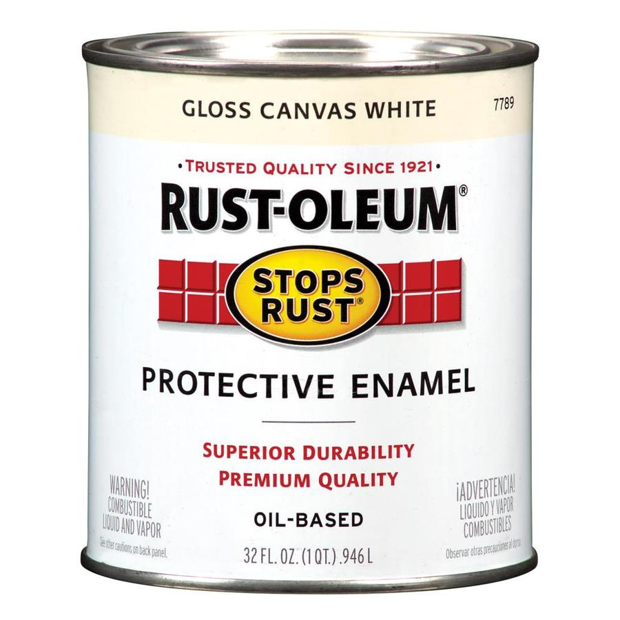 Shop rust oleum stops rust canvas white gloss oil based enamel interior exterior paint actual - Exterior white gloss paint image ...