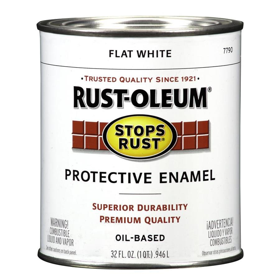 Shop rust oleum stops rust white flat oil based enamel interior exterior paint actual net for Rustoleum exterior metal paint