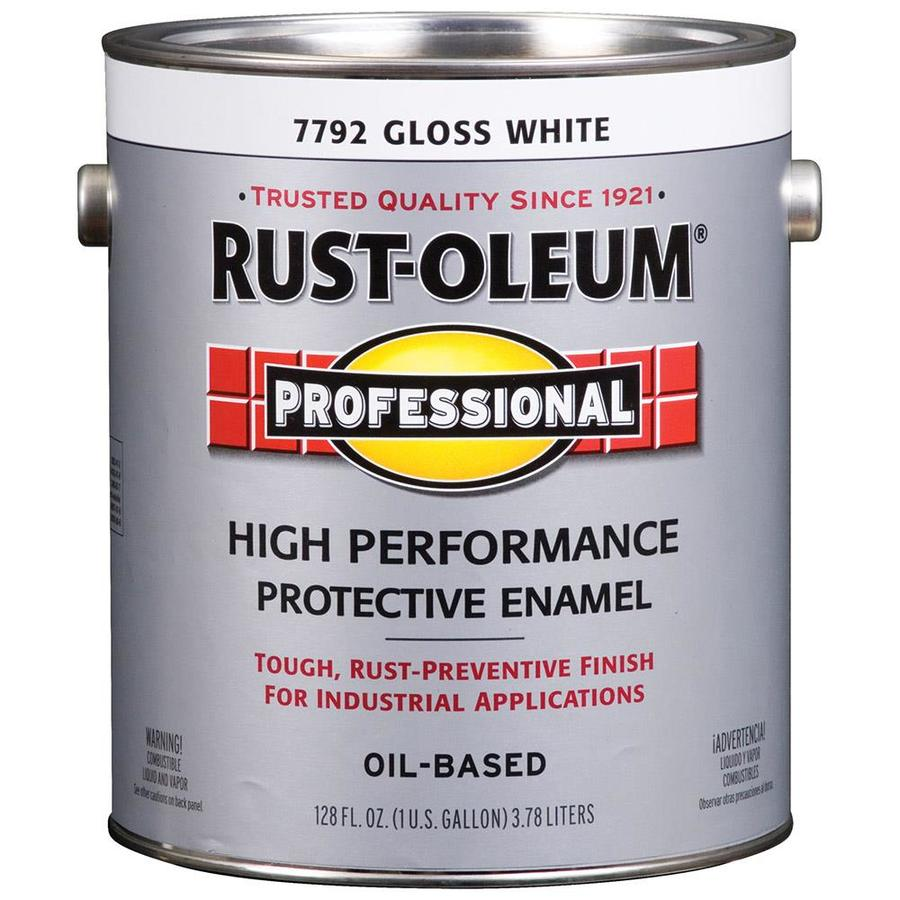 Shop Rust Oleum Professional Gloss White Gloss Oil Based Enamel Interior Exterior Paint Actual