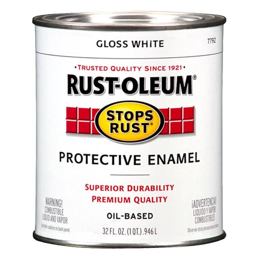 Shop Rust Oleum Stops Rust White Gloss Oil Based Enamel Interior Exterior Paint Actual Net