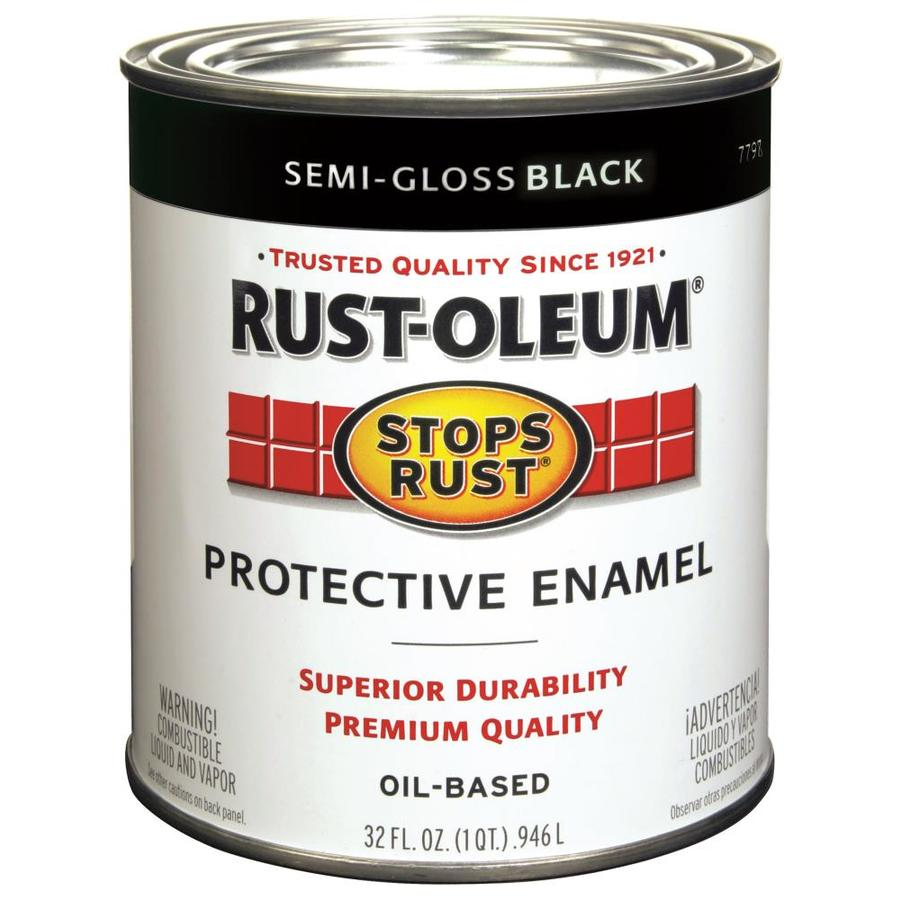 Shop Rust Oleum Stops Rust Black Semi Gloss Oil Based Enamel Interior Exterior Paint Actual Net