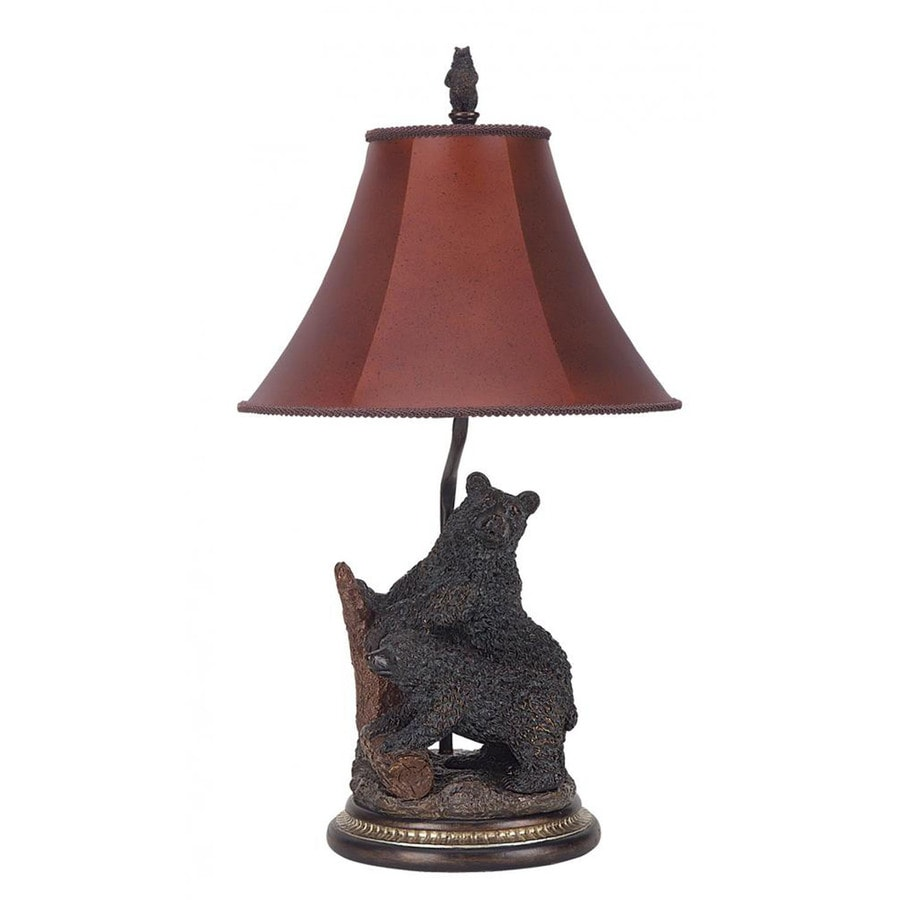 Axis 29-in 3-Way Antique Bronze Indoor Table Lamp with Fabric Shade