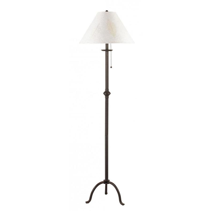 Axis 1 Light 31.75 in. Black Incandescent Floor Lamp with Fabric Shade