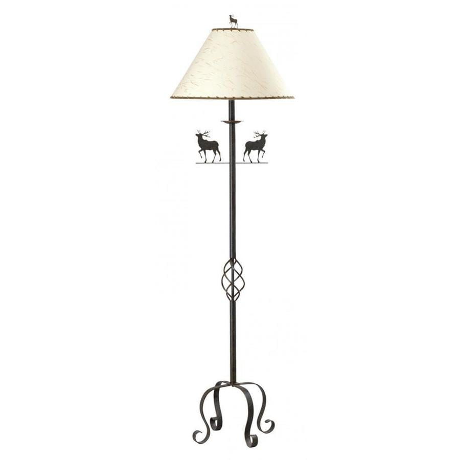 Axis 63-in Rust Modern Electrical Outlet 3-Way Switch Torchiere Floor Lamp with Fabric Shade