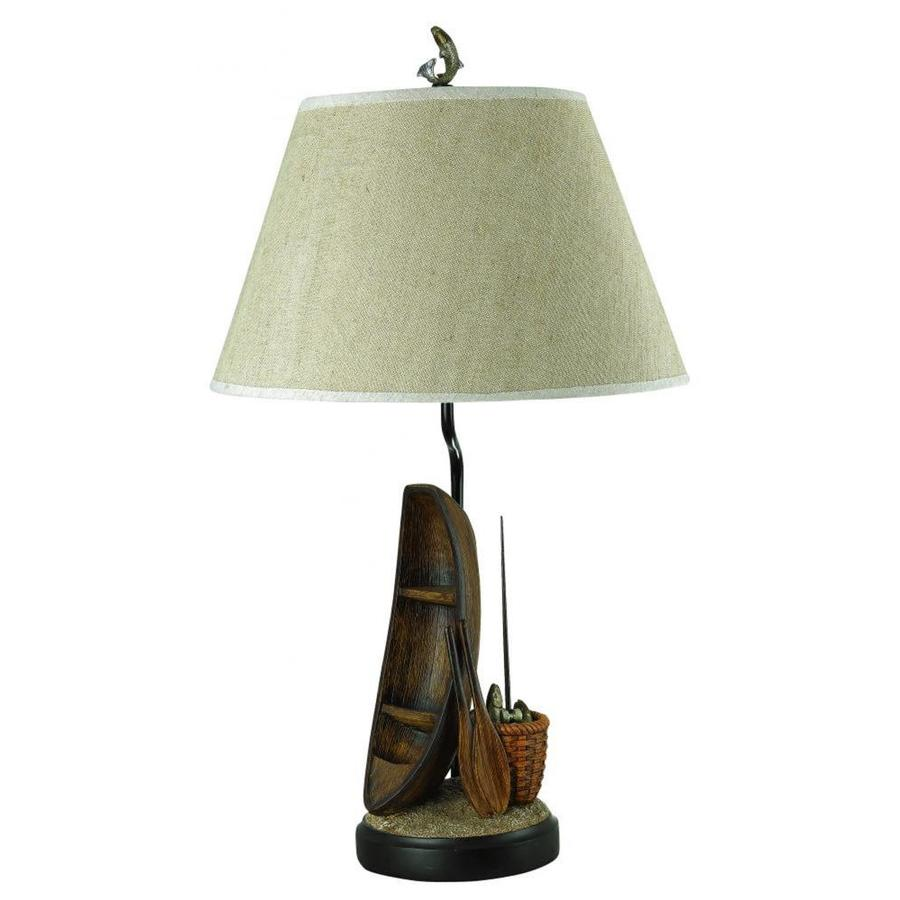 31-in Ligneous Electrical Outlet 3-Way Switch Table Lamp with Fabric Shade