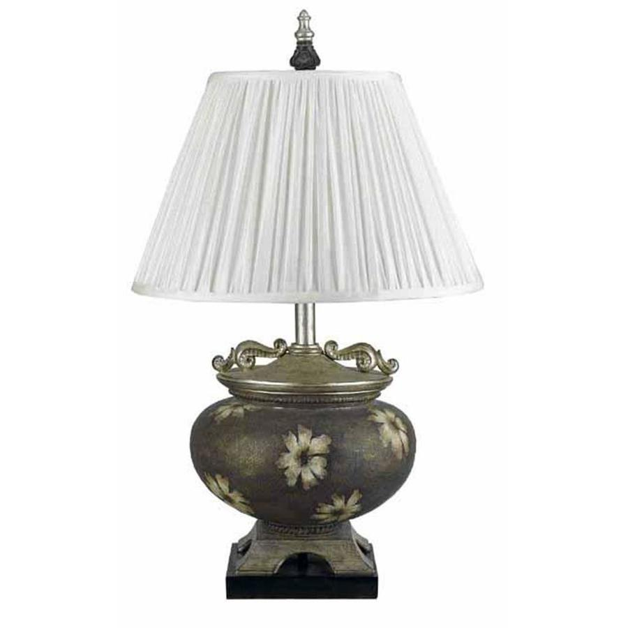 21-in Terra Cotta Electrical Outlet 3-Way Switch Table Lamp with Fabric Shade