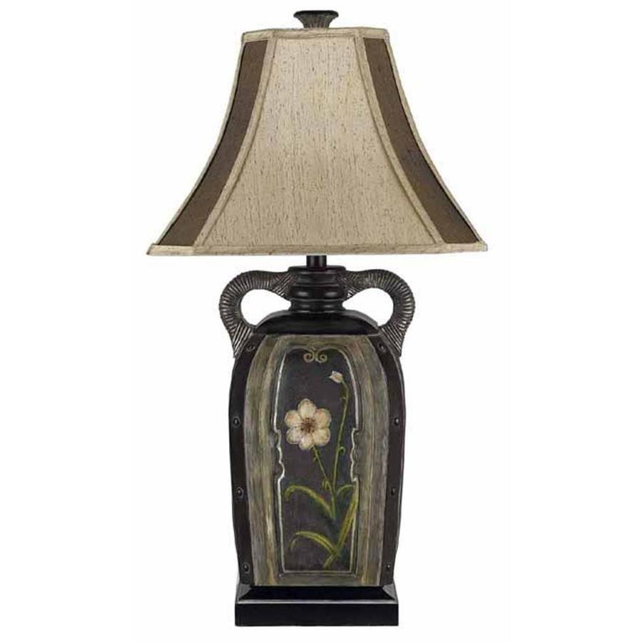 22-in Terra Cotta Electrical Outlet 3-Way Switch Table Lamp with Fabric Shade