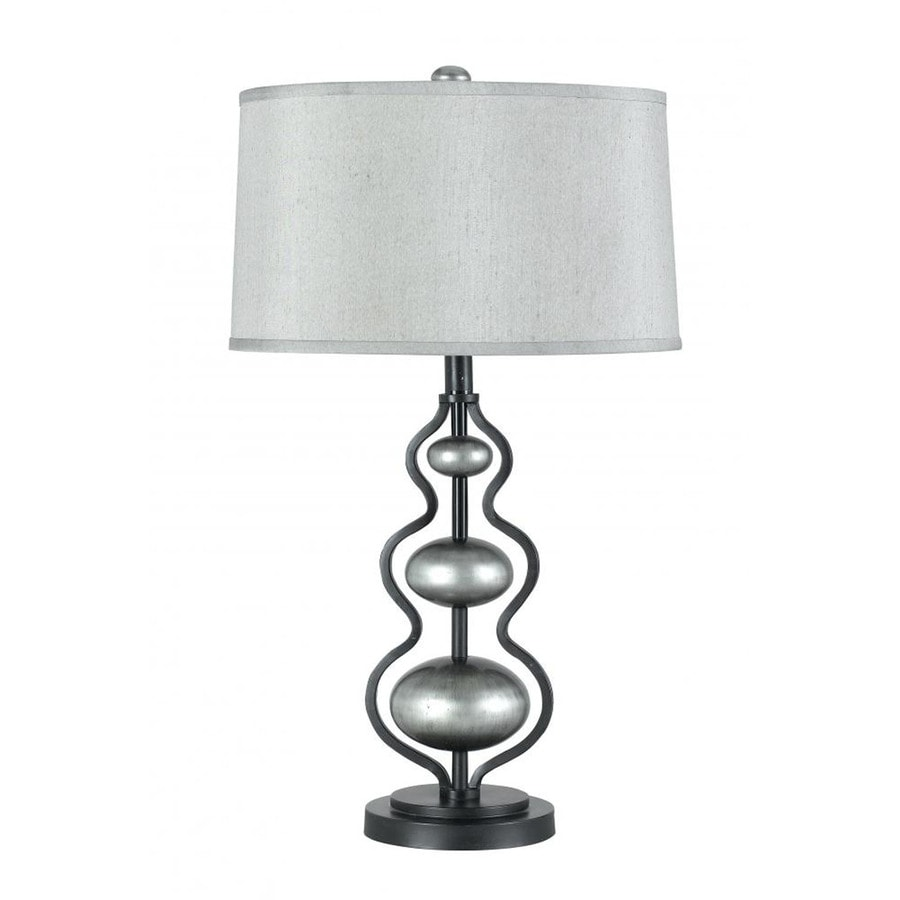 Axis 27-in 3-Way Silvery Indoor Table Lamp with Fabric Shade