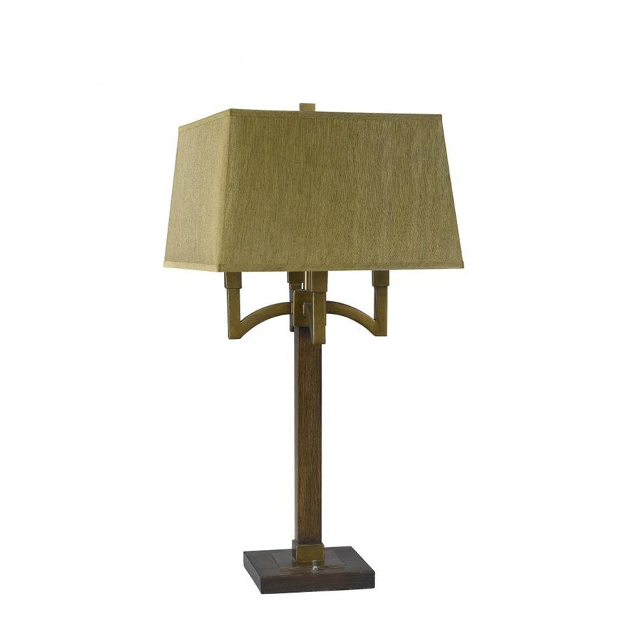 31-in Bronze Electrical Outlet 3-Way Switch Table Lamp with Fabric Shade