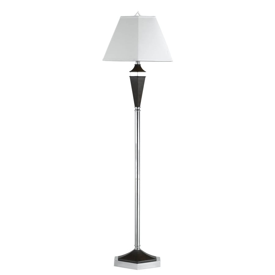 Axis 16-in 3-Way Switch Black Torchiere Indoor Floor Lamp with Fabric Shade