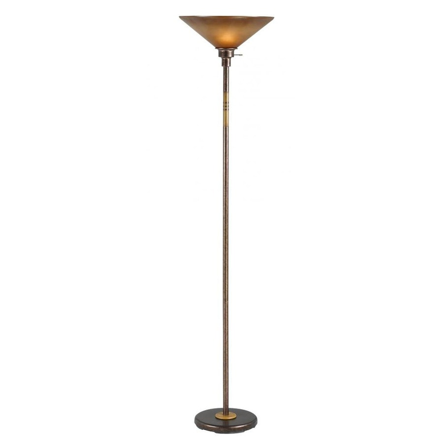 Axis 70-in Rust 3-Way Torchiere Floor Lamp with Glass Shade