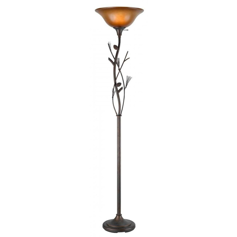 Axis 72-in 3-Way Switch Pinecone Torchiere Indoor Floor Lamp with Glass Shade