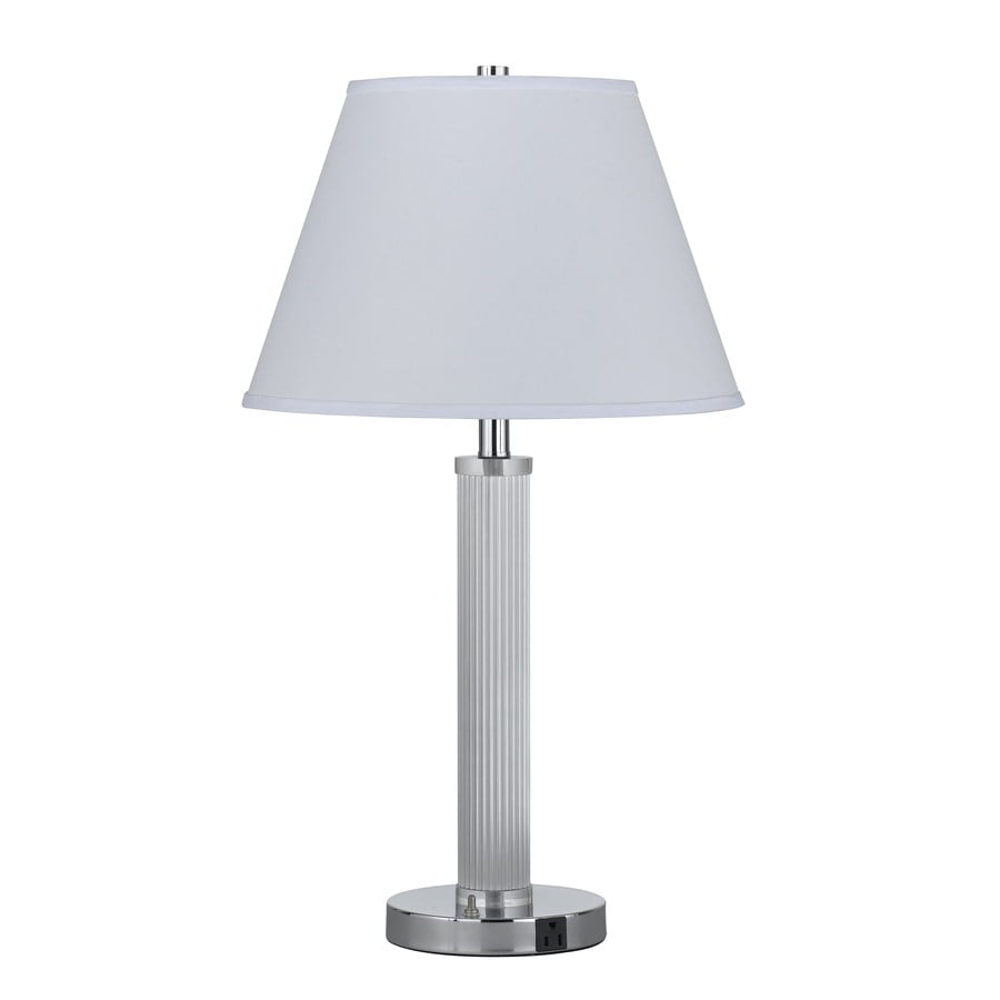 Axis 18-in 3-Way Chrome Indoor Table Lamp with Fabric Shade