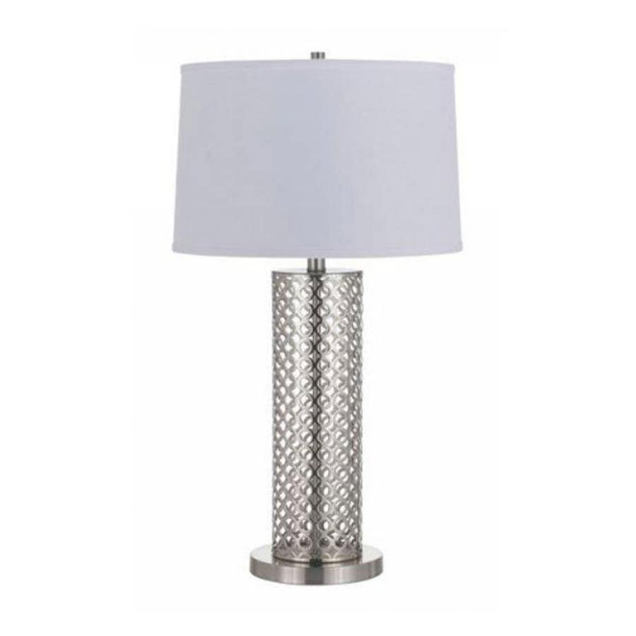 29-in Brushed Steel Electrical Outlet 3-Way Switch Table Lamp with Fabric Shade