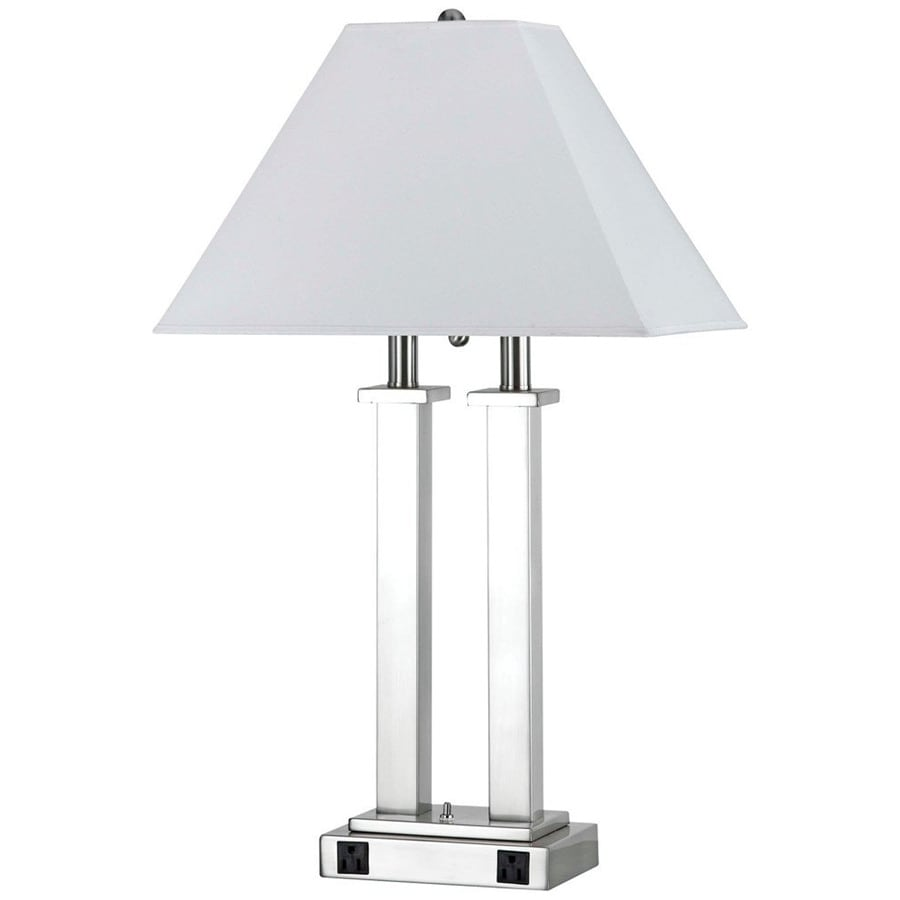 Axis 17-in 3-Way Brushed Steel Indoor Table Lamp with Fabric Shade