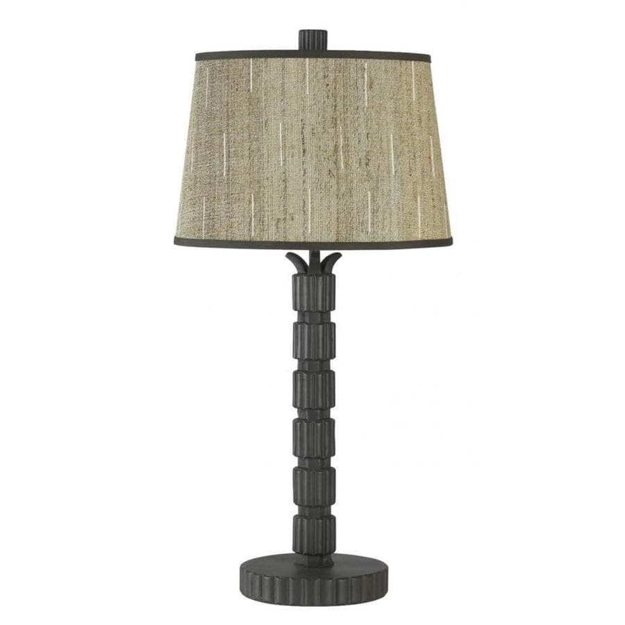 Axis 1 Light 30 in. Rust Incandescent Table Lamp with Fabric Shade