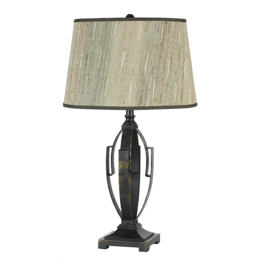 Axis 16-in 3-Way Antique Bronze Indoor Table Lamp with Fabric Shade