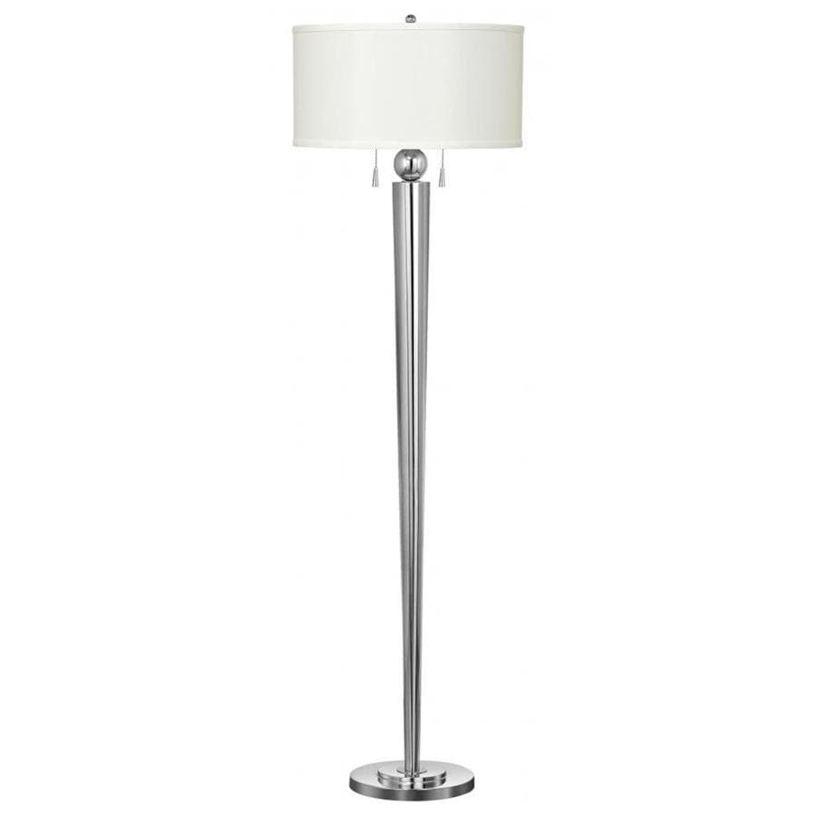 Axis 53-in Chrome 3-Way Torchiere Floor Lamp with Fabric Shade
