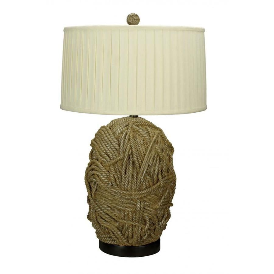 21-in Tan Electrical Outlet 3-Way Switch Table Lamp with Fabric Shade