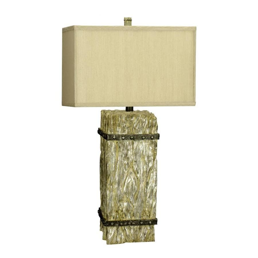 13-in Whitewash Electrical Outlet 3-Way Switch Table Lamp with Fabric Shade