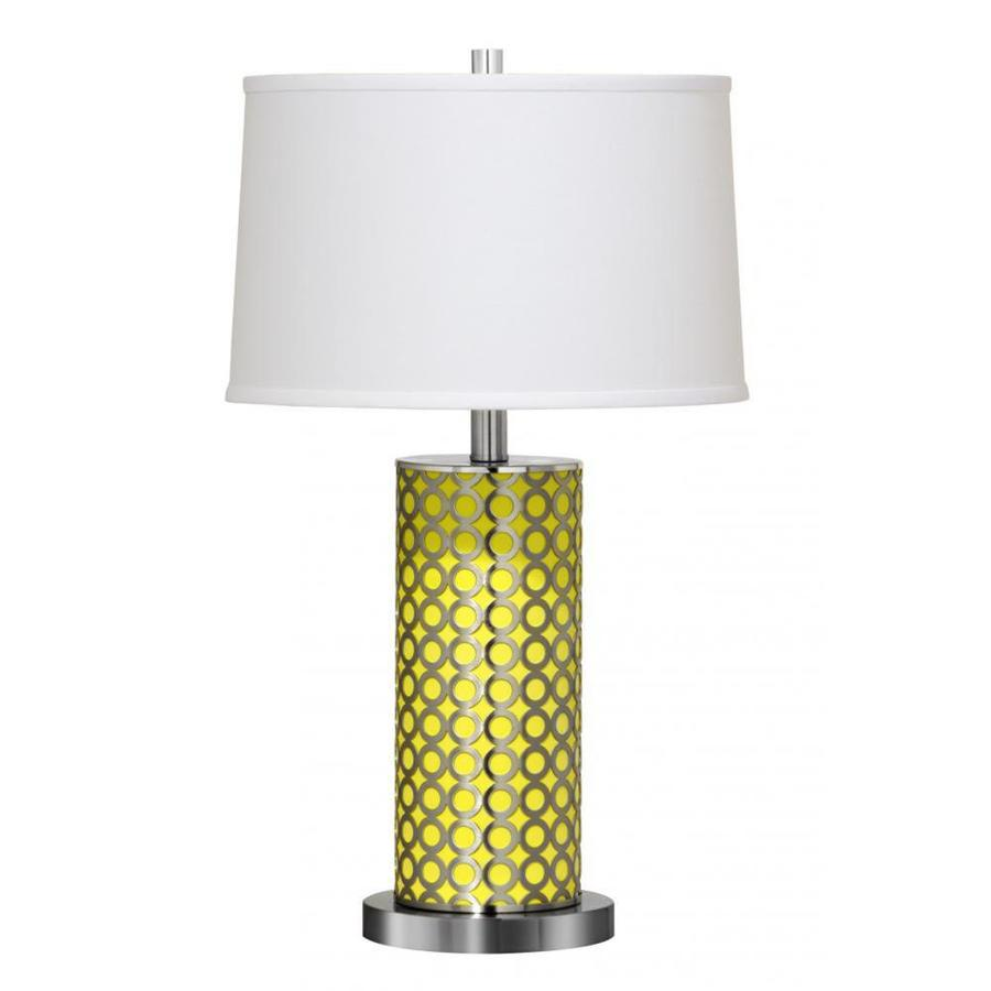 Axis 30-in 3-Way Brushed Steel Indoor Table Lamp with Fabric Shade