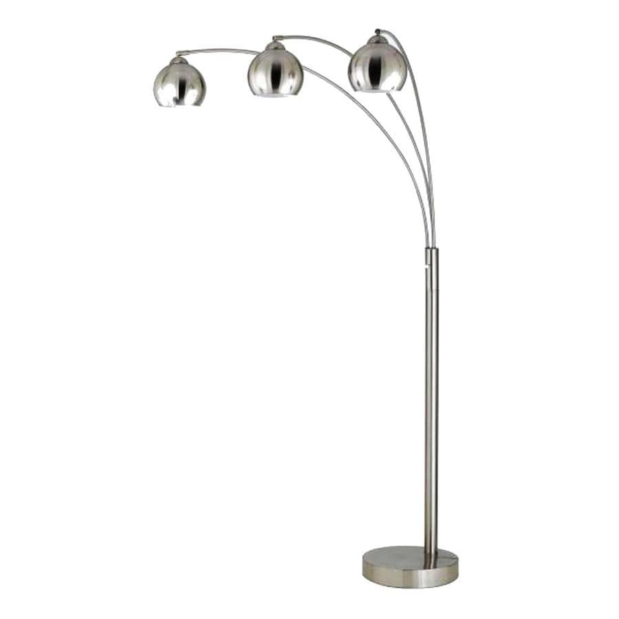 Axis 22-in Brushed Steel 3-Way Torchiere Floor Lamp with Metal Shade