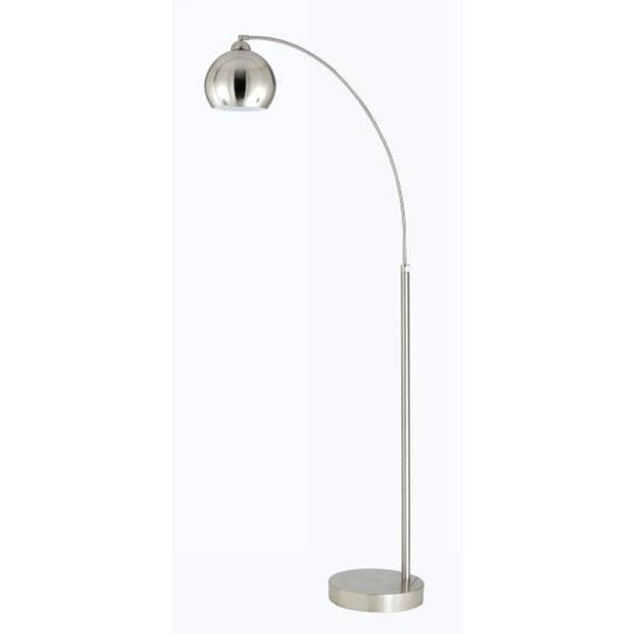 Axis 10-in Brushed Steel Modern Electrical Outlet 3-Way Switch Torchiere Floor Lamp with Metal Shade