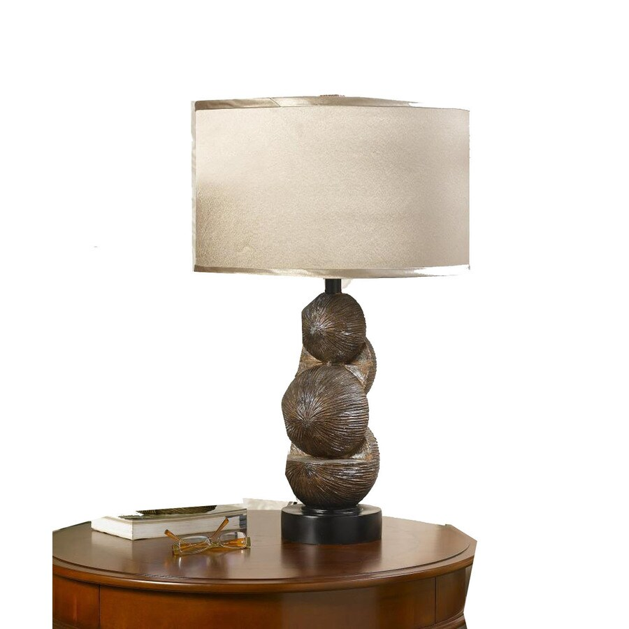 15-in Walnut Electrical Outlet 3-Way Switch Table Lamp with Fabric Shade