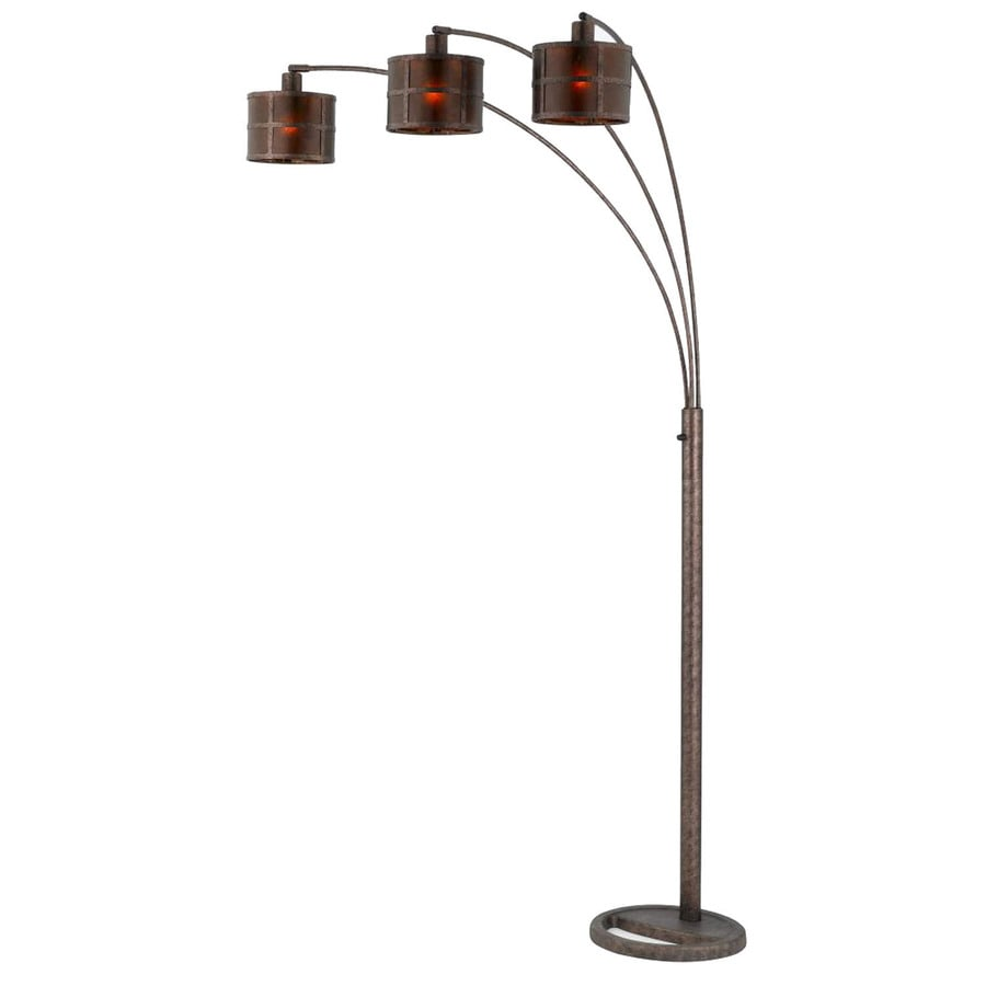 6-ft 10-in 3-Way Switch Antique Bronze Indoor Floor Lamp with Tiffany-Style Shade