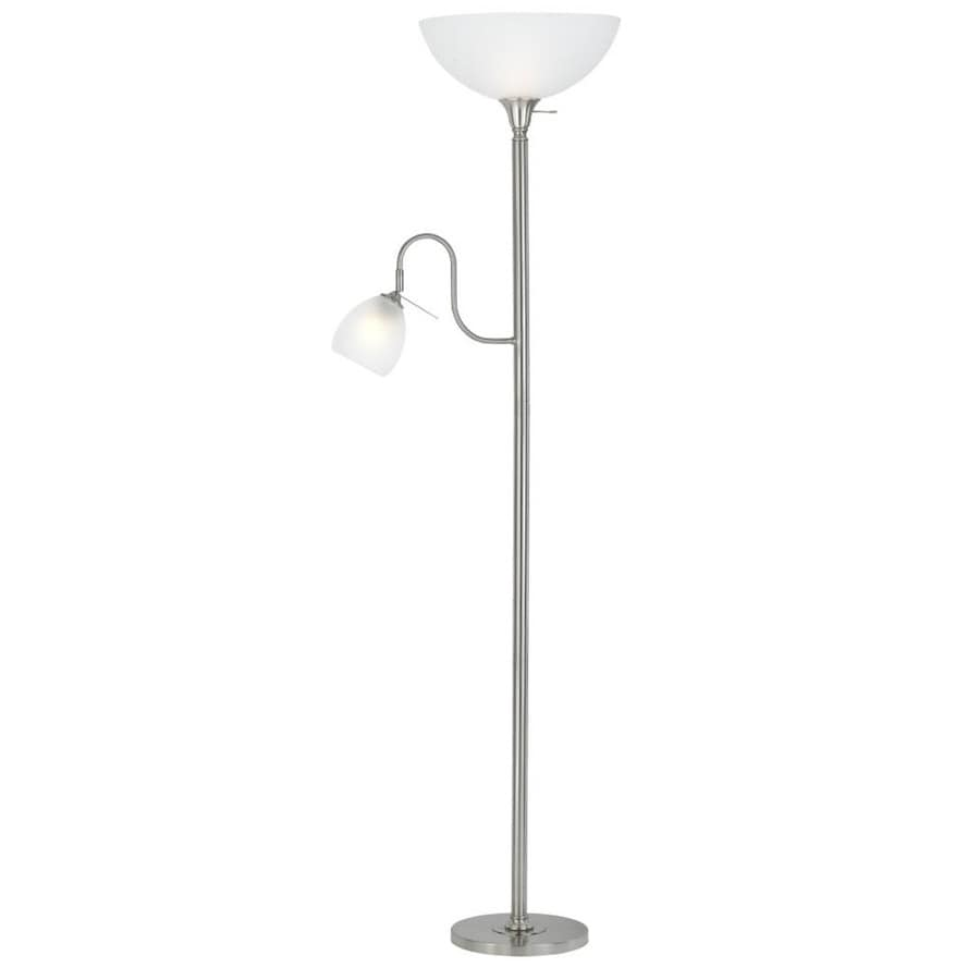 Axis 9-in 3-Way Switch Brushed Steel Torchiere with Side-Light Indoor Floor Lamp with Glass Shade