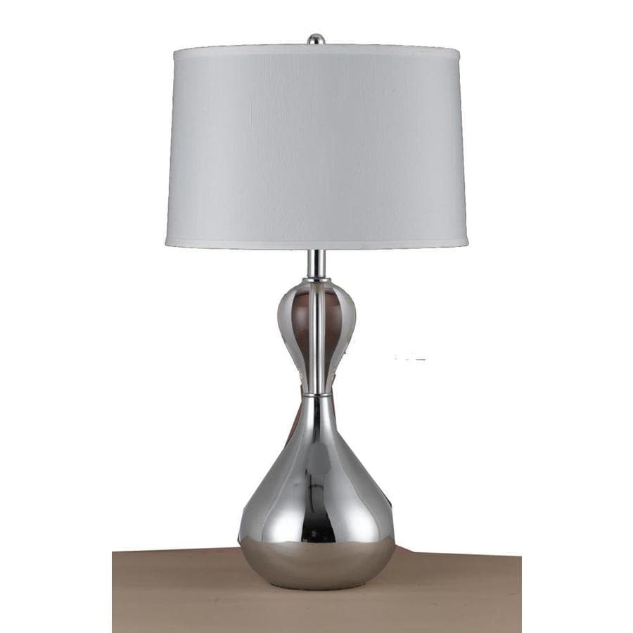 21-in Chrome Electrical Outlet 3-Way Switch Table Lamp with Fabric Shade