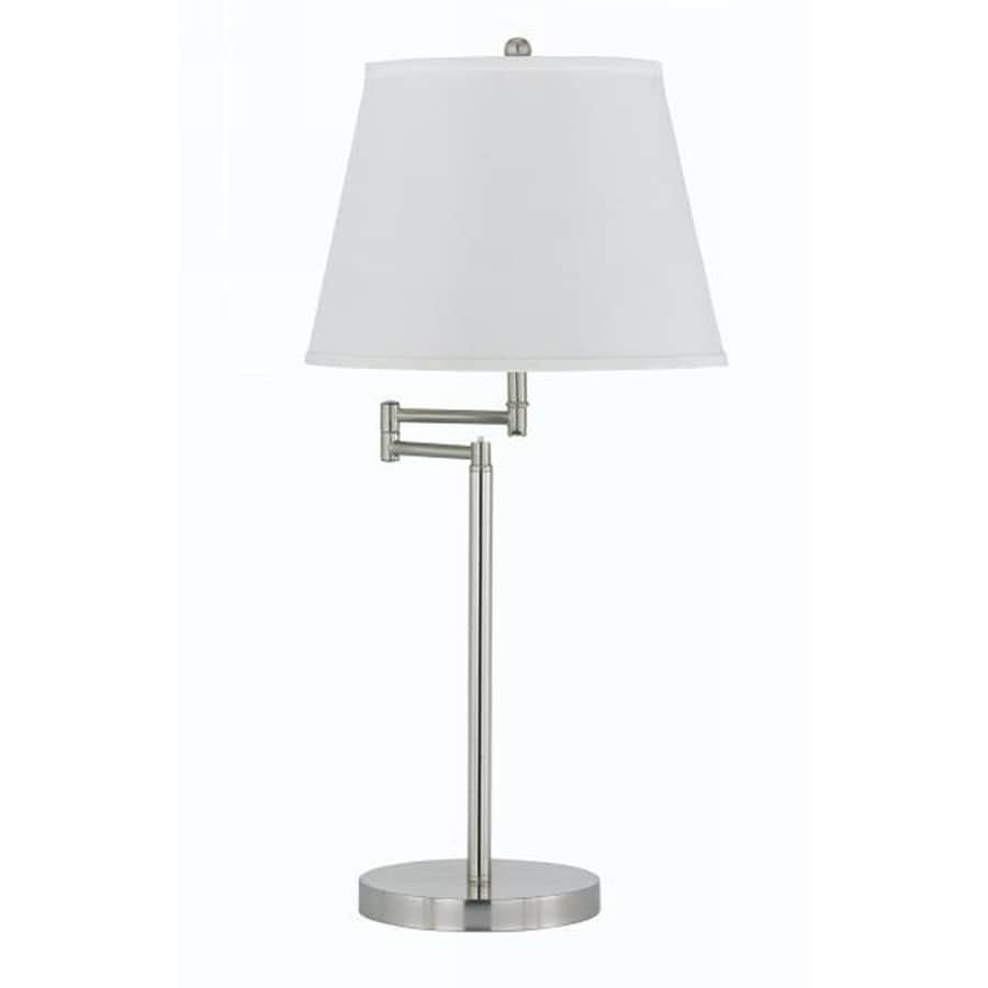 Axis 18-in 3-Way Brushed Steel Indoor Table Lamp with Fabric Shade