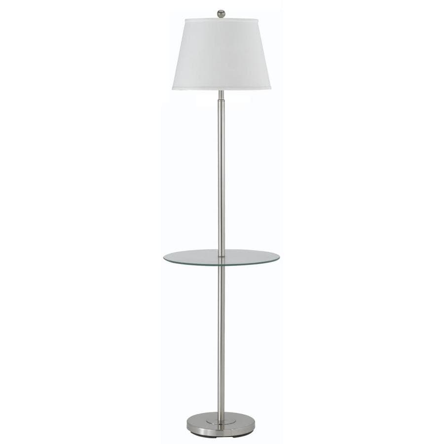 Axis 18-in 3-Way Switch Brushed Steel Indoor Floor Lamp with Fabric Shade
