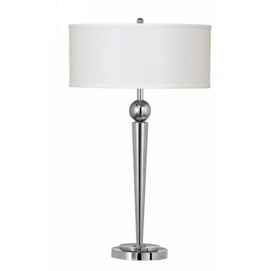 Shop 19 In Chrome Electrical Outlet 3 Way Switch Table Lamp With Fabric Shade