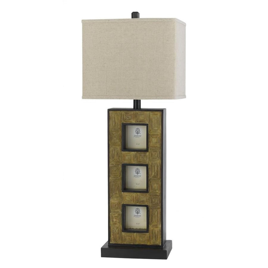17-in Cocoa Electrical Outlet 3-Way Switch Table Lamp with Fabric Shade