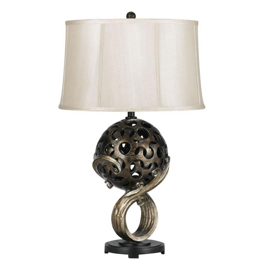 22-in Bronze Electrical Outlet 3-Way Switch Table Lamp with Fabric Shade
