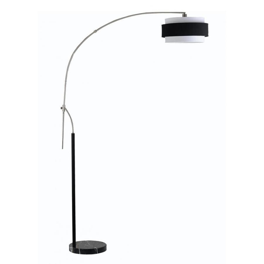 Axis 92-in 3-Way Switch Brushed Steel Torchiere Indoor Floor Lamp with Fabric Shade
