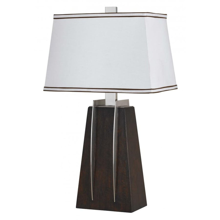 28-in Walnut Electrical Outlet 3-Way Switch Table Lamp with Fabric Shade